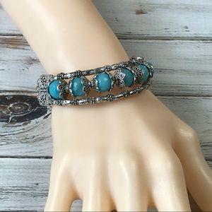 Handmade silver and blue chrophase stone bracelet